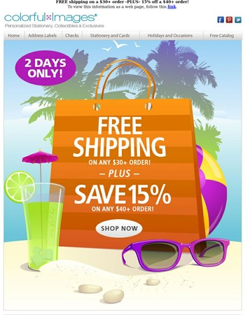 Free shipping AND 15% off - a double-dip deal!