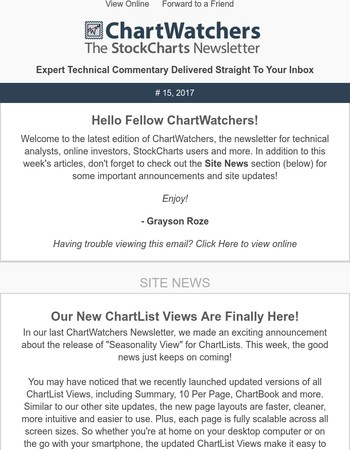 ChartWatchers - The Newsletter for StockCharts.com Users