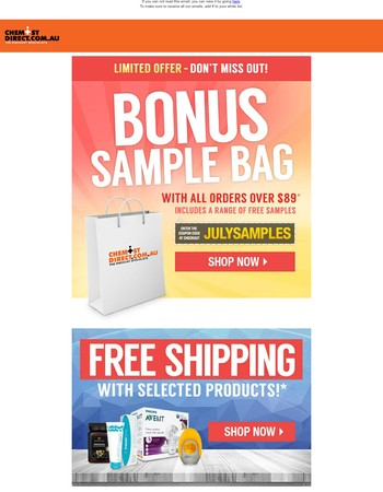 Reminder: Claim your Free Samples | Free Shipping with selected products