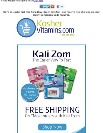 Have an easier fast! Free Shipping on most orders with Kali Zom!
