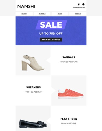 Sale! Up to 75% off sandals, sneakers & flats