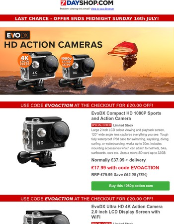 Last Chance - Offer Ends at Midnight - Get £20 OFF these Action Cams. Plus Memory, Accessories and Sachets of Silica Gel