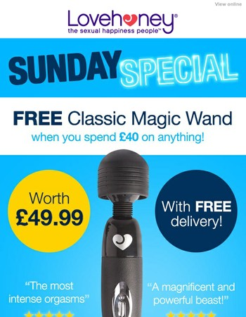 Today only: FREE £49.99 Magic Wand when you spend just £40!