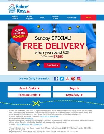 Flash offer: Free Delivery ends tonight