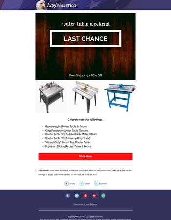 Last Chance for Free Shipping & Extra 10% Off Router Tables