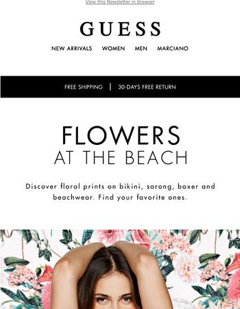Discover Guess Floral Beachwear   Sale up to 50% off