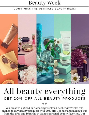 Last chance: 20% off all beauty!