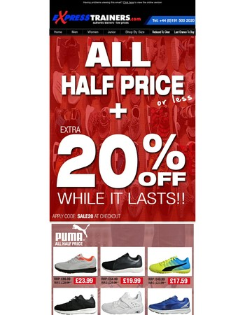 All Half Price | Sale Continues + Extra 20% Off With Code SALE20