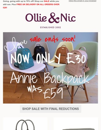 SALE must end soon. Final Reductions!