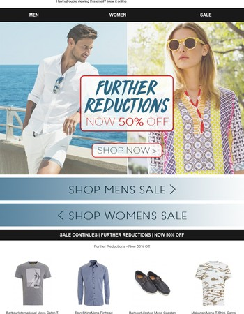 Sale Continues | Further Reductions | Now 50% Off