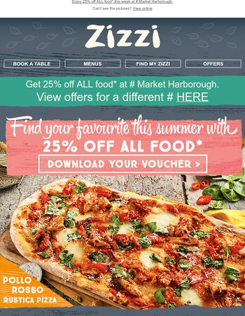 Summer starts here - earn £10 vouchers + get 25% off ALL food!