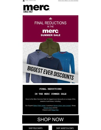 Don't Miss Final Reductions in the Merc Summer Sale - Deals on Jackets, Jumpers, Shirts, Polos