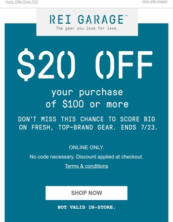 Online Exclusive: $20 Off Your Purchase of $100 or More