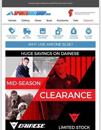 It's Dainese Clearance Time...