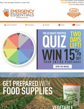 Two Days Left! Ultimate Prepper Quiz - Save 15%