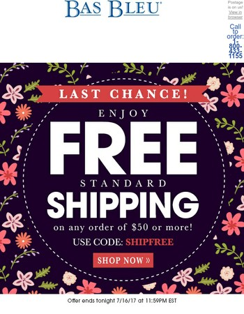Last day for Free Shipping!