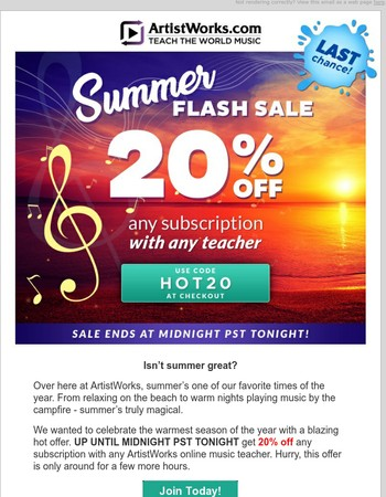 Last chance! 20% off music lessons ends tonight!