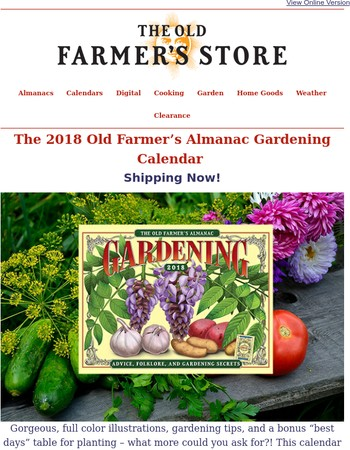 Don't Miss It – 2018 Gardening Calendar is Shipping Now