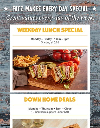 5 Daily Specials (and an offer) You Won't Want To Miss