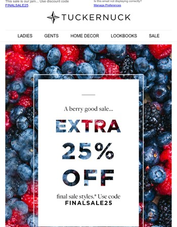 Last Chance! Extra 25% Off Sale