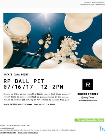 Richer Poorer Ball Pit At Our Dana Point Store Today! *New Time!