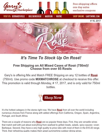 Free Shipping on All Mixed Cases of Rosé (750ml)