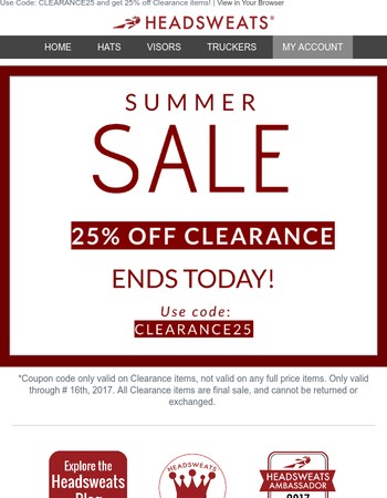 LAST CHANCE to take an EXTRA 25% OFF Clearance!