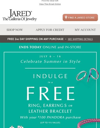 Last Day: Free PANDORA Ring, Earrings or Bracelet with $100 Purchase!