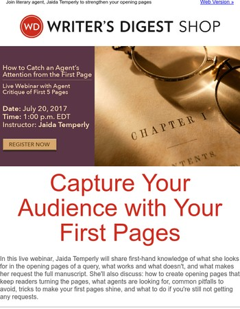 [Live Webinar] How to Catch an Agent's Attention from the First Page