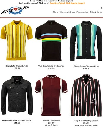 New Mod 60s & 70s styles from Madcap England