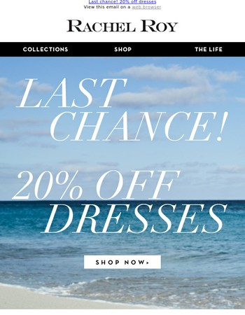 Last day! 20% off dresses!