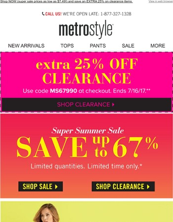 SALE ON SALE: Extra 25% off clearance!