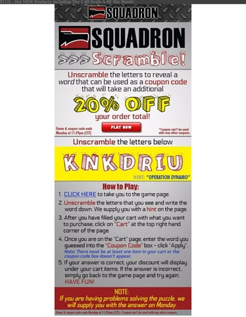 Play Squadron Scramble for 20% OFF Your Order