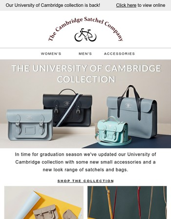 Cambridge style - our new university collection.