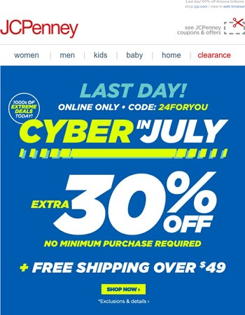 Almost over! Extra 30% off + 1000s of Cyber deals