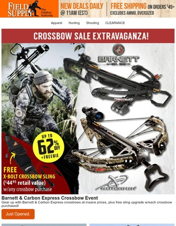 Just landed: Crossbows! Big new deals up to 62% off + Freebie.