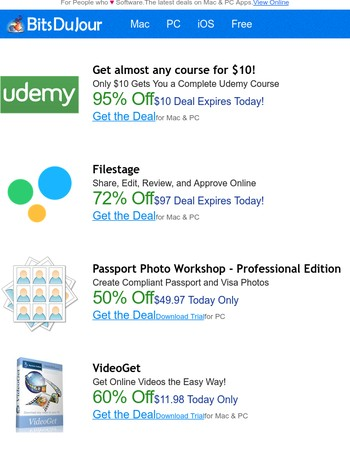 Get almost any course for $10!, Filestage, Passport Photo Workshop - Professional Edition, VideoGet, 7 Useful Excel Sheets to Instantly Improve Your Family's Budget, A Guide to Successful Gemba Walks at BitsDuJour Today