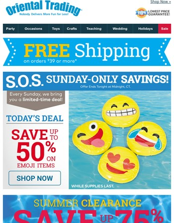 S.O.S. Today Only: Save up to 50% on Emoji Items + Get Free Shipping