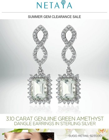 Summer Gem Sale! $24 - 3.10 CARAT Green Amethyst Dangle Earrings!