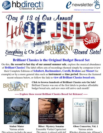 Next-to-last day of our store-wide sale, featuring Brilliant Boxed Sets!