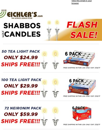 Flash Sale! Shabbos Candles Bulk and Save!