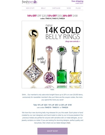 Premium Body Jewelry Up To 20% Off - Last Chance!