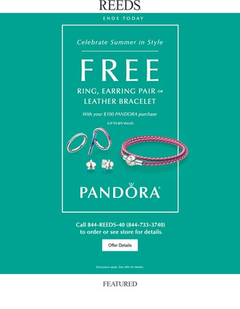Ends Today: Free PANDORA Item With Purchase!