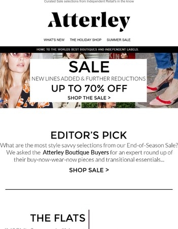 Now up to 70% off Sale + Shop The Editor's Picks