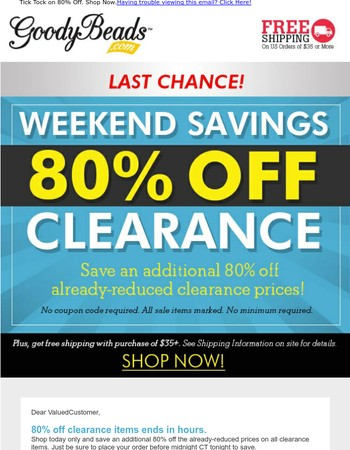 LAST Chance to Save 80% OFF Clearance