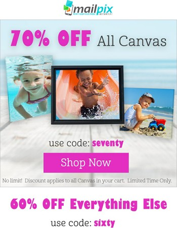Here's a 70% Off Canvas Coupon