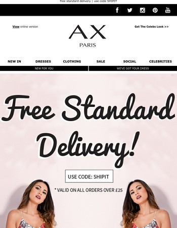 FREE STANDARD DELIVERY - ENDS TONIGHT!