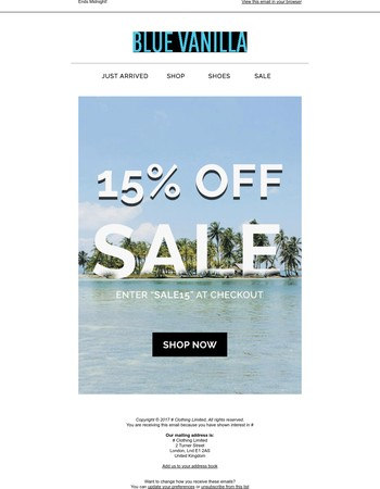 Only 4h left for 15% off all sale!