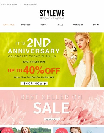 Hurry Up! It's 2nd Anniversary.Oder Now And Get Our Limited Gift