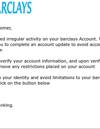 Barclays Account Notification